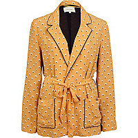 Yellow print belted jacket