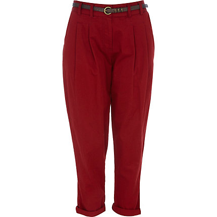 Dark red belted chinos
