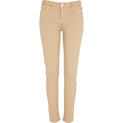 Light beige olive super skinny jeans