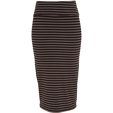 Grey stripe midi tube skirt