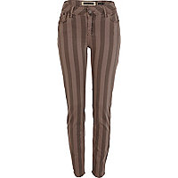 Brown stripe super skinny jeans