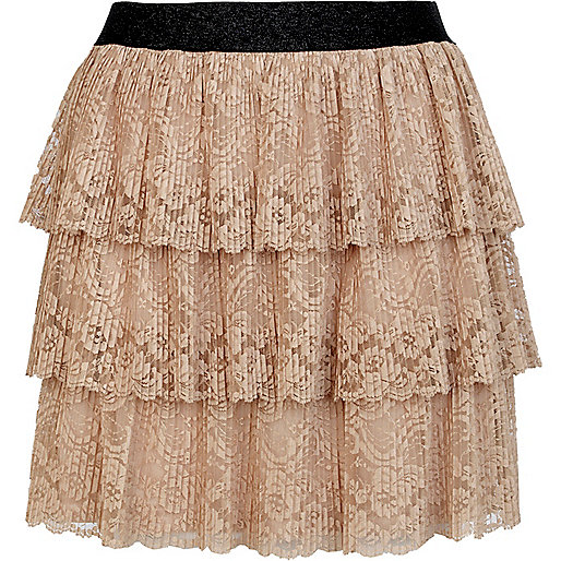 Cream stained tiered lace mini skirt