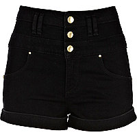 Black high waisted basque shorts