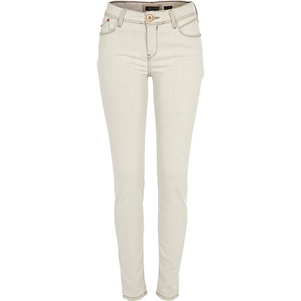 Cream super skinny roll leg jeans