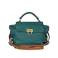 Green circle lock leather satchel