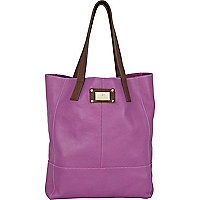 Purple contrast handle tote bag