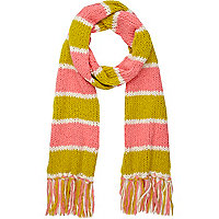 Coral stripe knitted scarf
