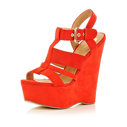 Bright red wedge sandals