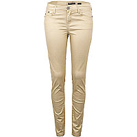 Gold metallic super skinny jeans