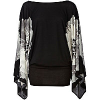 Black printed batwing dress