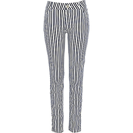 Blue nautical stripe skinny jeans