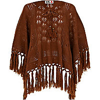 Brown chelsea girl fringed poncho
