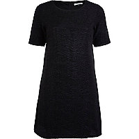 Black metallic a line shift dress