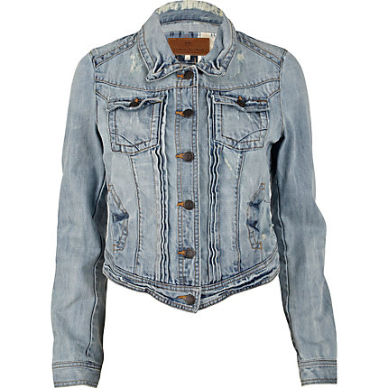 Light wash pleat crop denim jacket