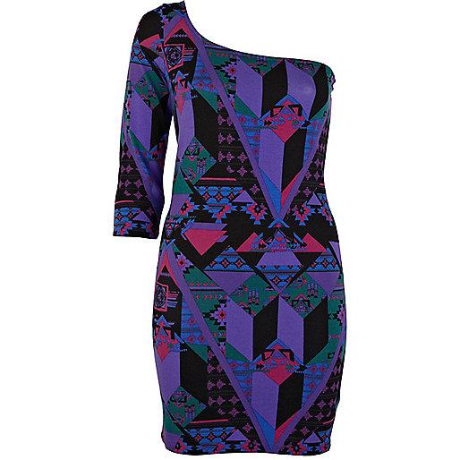 Purple aztec print one shoulder dress