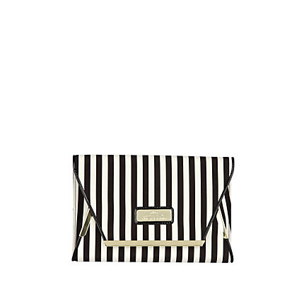 Black stripe clutch bag