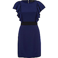 Blue cap sleeve ruffle front dress