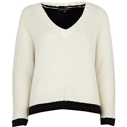 Cream colour block v neck jumper