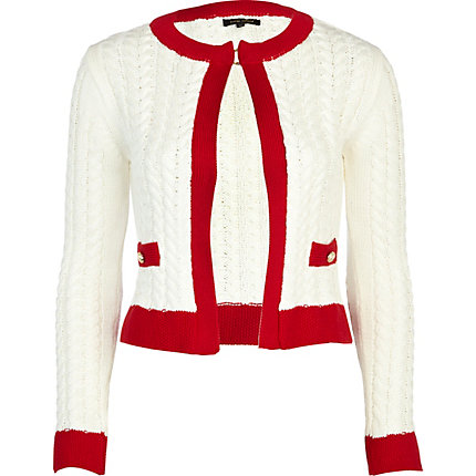Cream cropped edge to edge cardigan