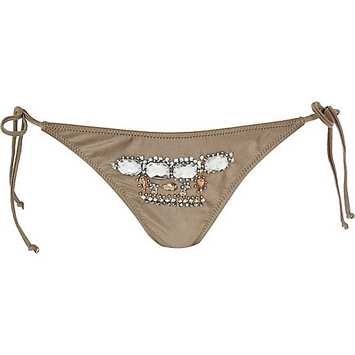 Gold embellished bikini briefs