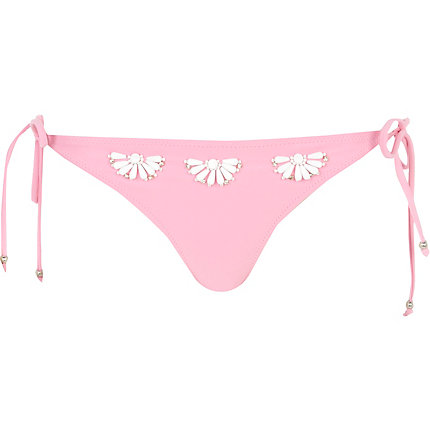 Pink bead flower bikini briefs