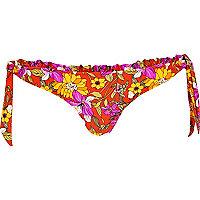 Red floral print bikini briefs