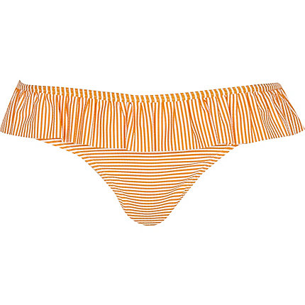 Orange stripe seersucker frill bikini briefs