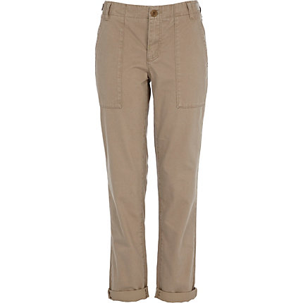 Light beige roll up trousers