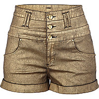 Gold high waisted hotpants