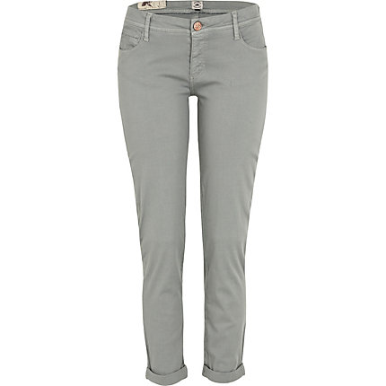 Grey low rise skinny trousers
