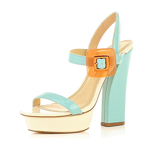 Light blue buckle sandals