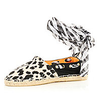 Black animal print espadrilles