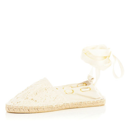 White tie up espadrilles