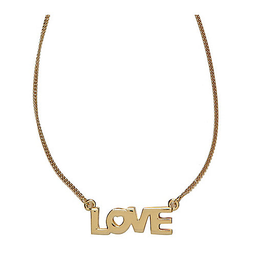 Gold tone love necklace