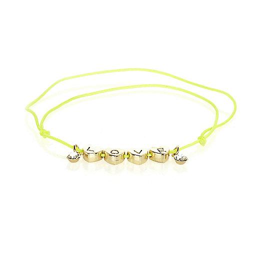 Bright yellow love heart bracelet