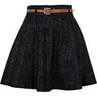 Black jacquard belted skirt
