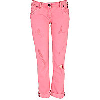 Pink fluorescent straight jeans