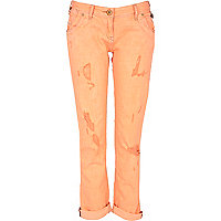 Orange fluorescent straight jeans