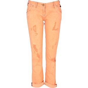 Orange fluorescent straight jeans