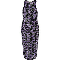 Purple floral print midi bodycon dress