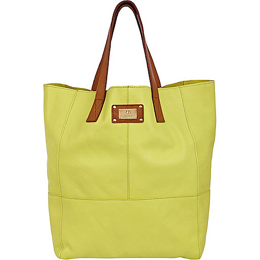 Lime large leather tote bag