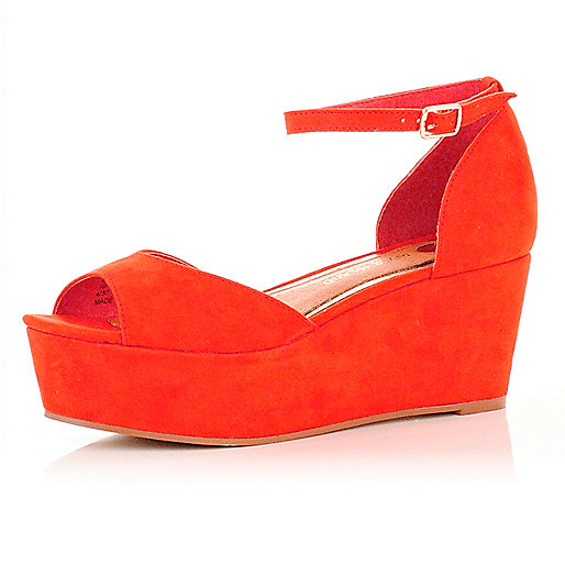 854cc442c5b Bright orange wedge sandals - wedges - shoes boots - women