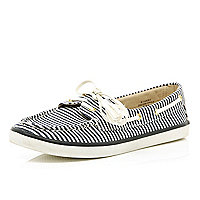 Navy stripe lace up boat shoes