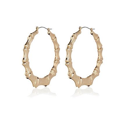 Gold tone round hoop earrings