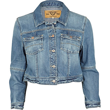 Mid wash denim crop jacket
