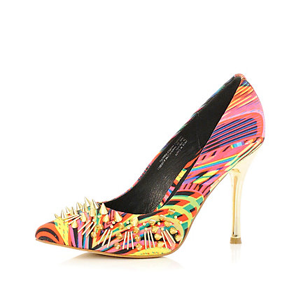 Pink multi coloured print court shoes