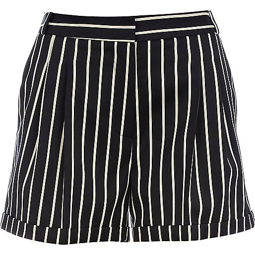 Navy smart stripe shorts