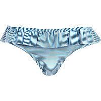 Blue stripe ruffle bikini bottoms