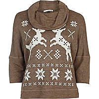 Brown reindeer print cowl neck top