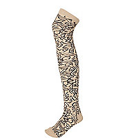 Beige tribal print over the knee socks